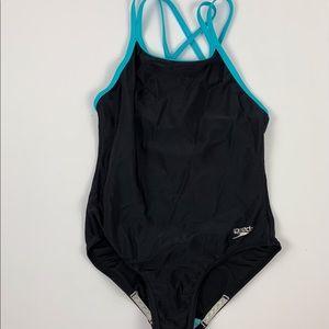 Speedo Swimsuit One Piece Black & Blue